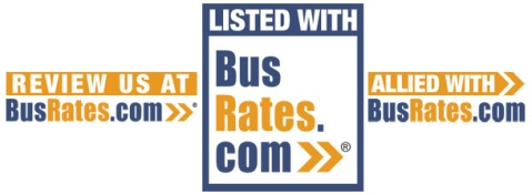 A collage of three variants of the BusRates.com badges
